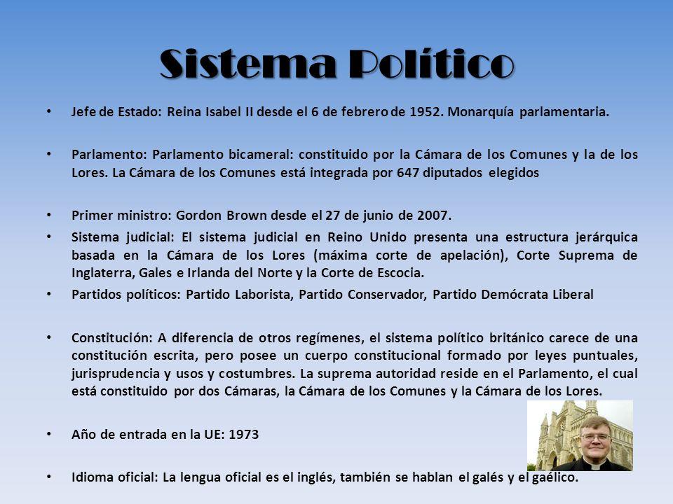 Sistema Político Jefe de Estado: Reina Isabel II desde el 6 de febrero de 1952. Monarquía parlamentaria. Parlamento: Parlamento bicameral: constituido