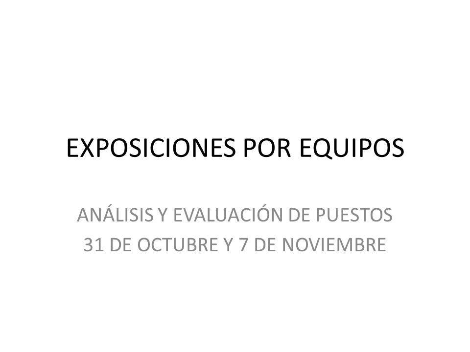 EXPOSICIONES POR EQUIPOS ANÁLISIS Y EVALUACIÓN DE PUESTOS 31 DE OCTUBRE Y 7 DE NOVIEMBRE