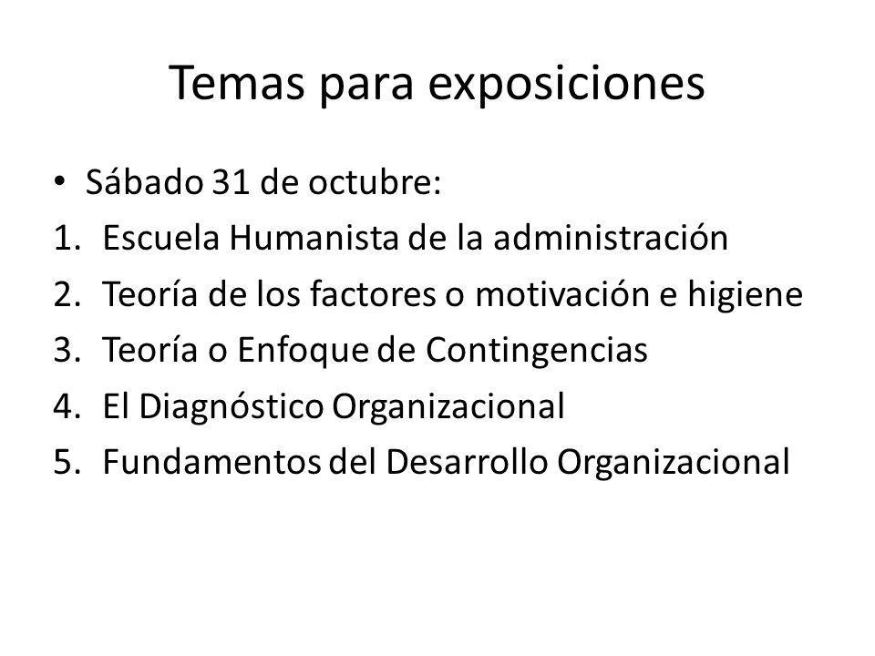 Temas para exposiciones Sábado 31 de octubre: 1.Escuela Humanista de la administración 2.Teoría de los factores o motivación e higiene 3.Teoría o Enfo