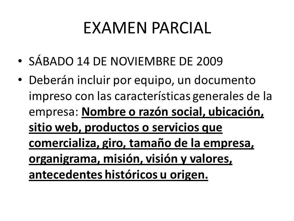 EXAMEN PARCIAL SÁBADO 14 DE NOVIEMBRE DE 2009 Deberán incluir por equipo, un documento impreso con las características generales de la empresa: Nombre
