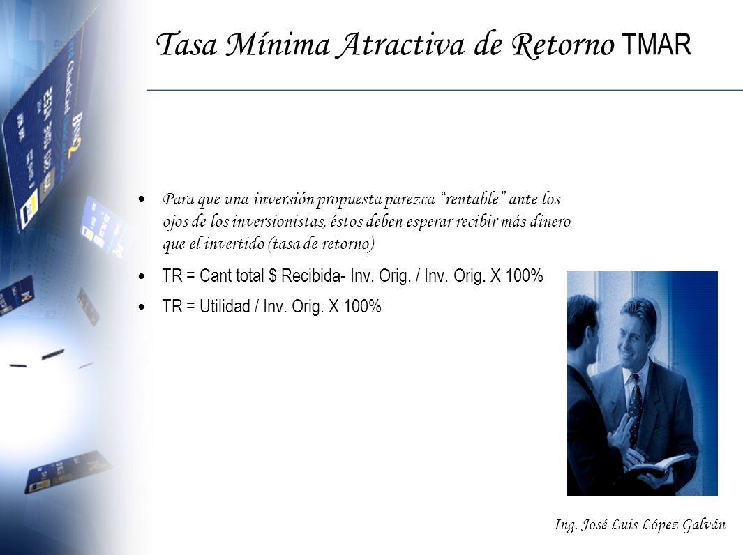 Ing. José Luis López Galván Tasa Mínima Atractiva de Retorno TMAR Para que una inversión propuesta parezca rentable ante los ojos de los inversionista
