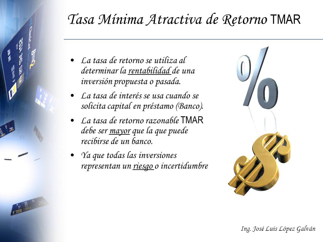 Ing. José Luis López Galván Tasa Mínima Atractiva de Retorno TMAR La tasa de retorno se utiliza al determinar la rentabilidad de una inversión propues