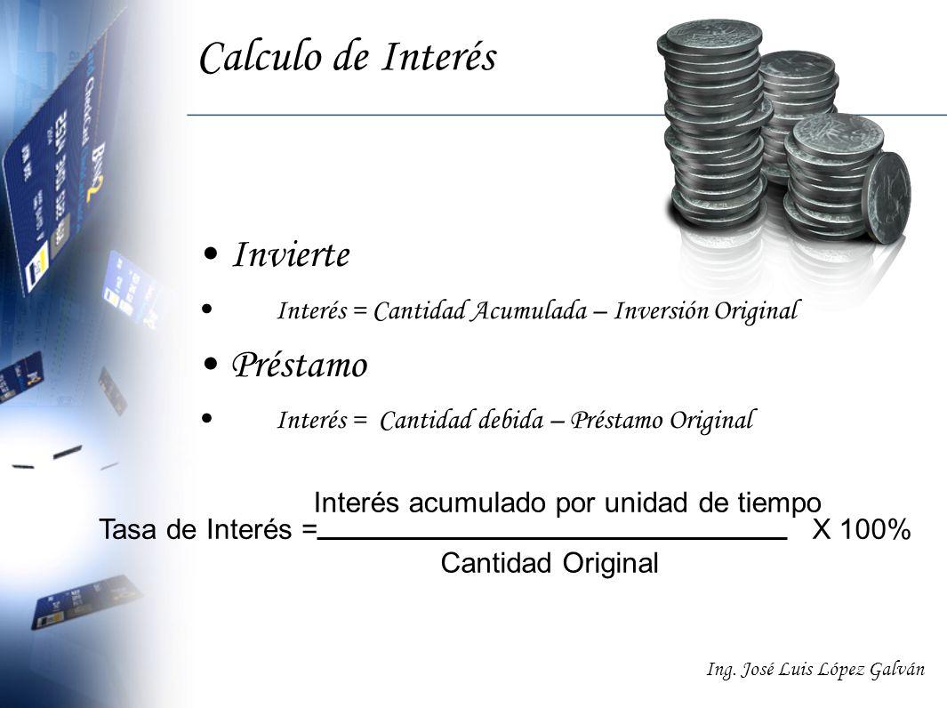 Ing. José Luis López Galván Calculo de Interés Invierte Interés = Cantidad Acumulada – Inversión Original Préstamo Interés = Cantidad debida – Préstam
