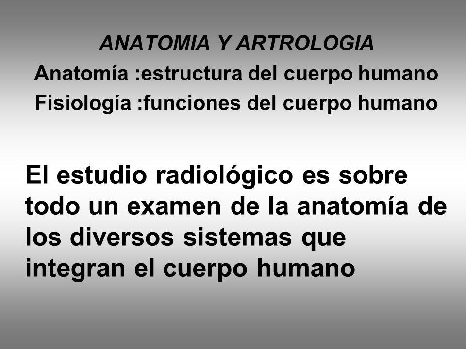 ANATOMIA Y ARTROLOGIA Anatomía :estructura del cuerpo humano Fisiología :funciones del cuerpo humano El estudio radiológico es sobre todo un examen de