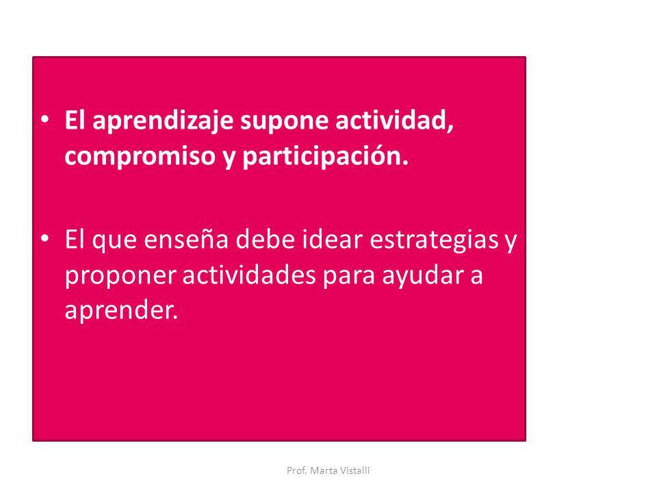 El aprendizaje supone actividad, compromiso y participación. El que enseña debe idear estrategias y proponer actividades para ayudar a aprender. Prof.