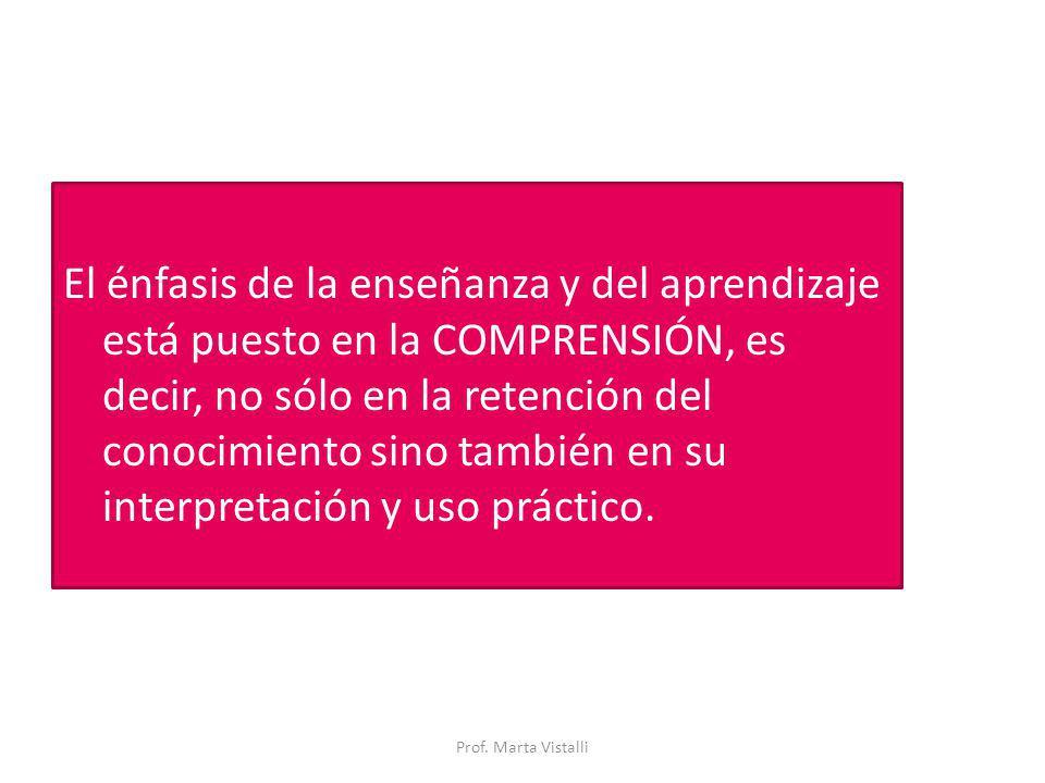 El énfasis de la enseñanza y del aprendizaje está puesto en la COMPRENSIÓN, es decir, no sólo en la retención del conocimiento sino también en su inte
