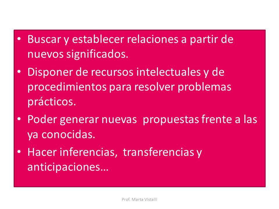 Buscar y establecer relaciones a partir de nuevos significados. Disponer de recursos intelectuales y de procedimientos para resolver problemas práctic