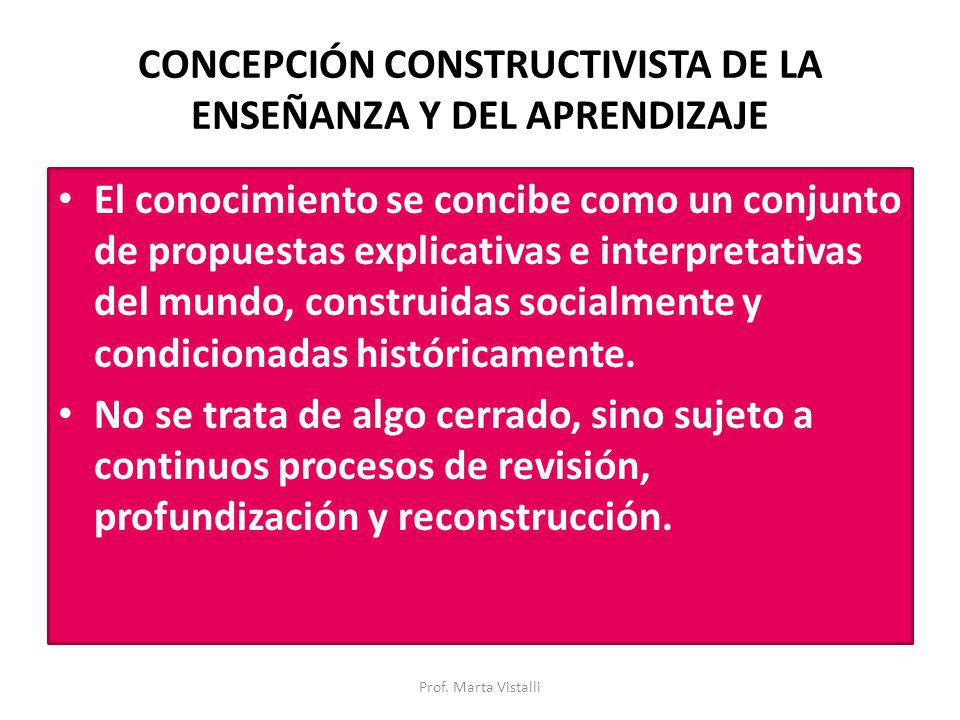 CONCEPCIÓN CONSTRUCTIVISTA DE LA ENSEÑANZA Y DEL APRENDIZAJE El conocimiento se concibe como un conjunto de propuestas explicativas e interpretativas