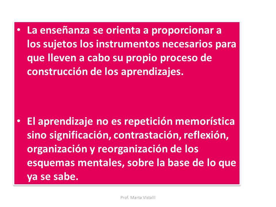La enseñanza se orienta a proporcionar a los sujetos los instrumentos necesarios para que lleven a cabo su propio proceso de construcción de los apren