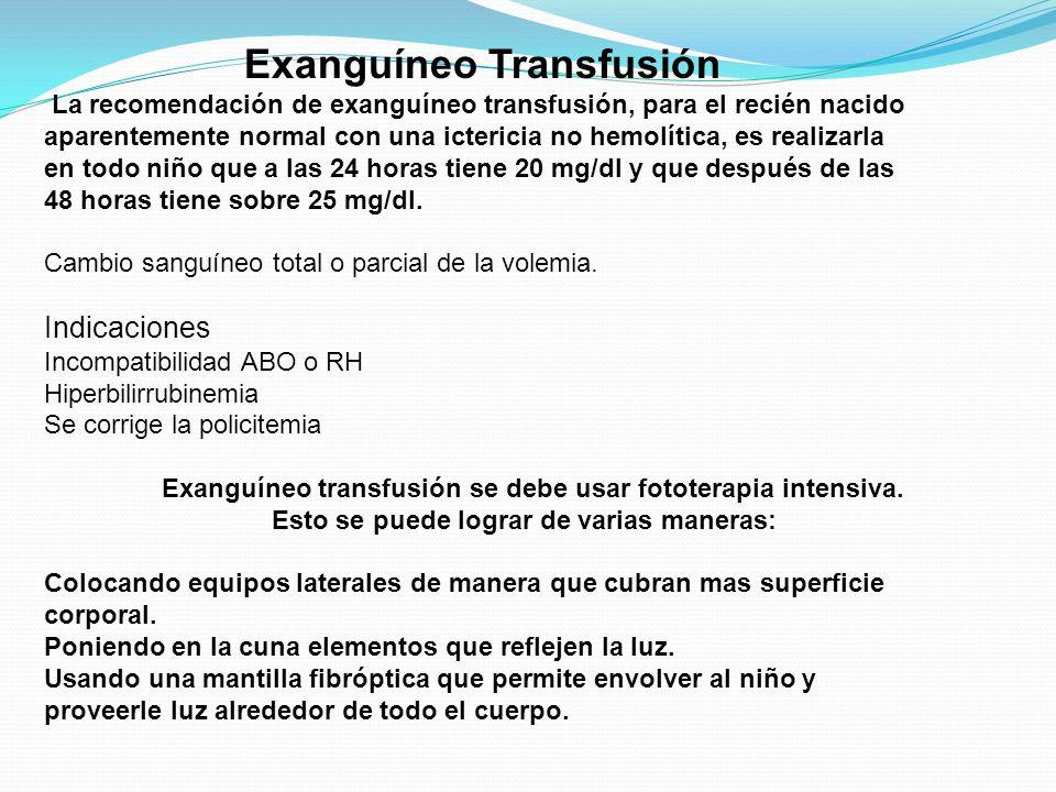 Exanguíneo Transfusión La recomendación de exanguíneo transfusión, para el recién nacido aparentemente normal con una ictericia no hemolítica, es real