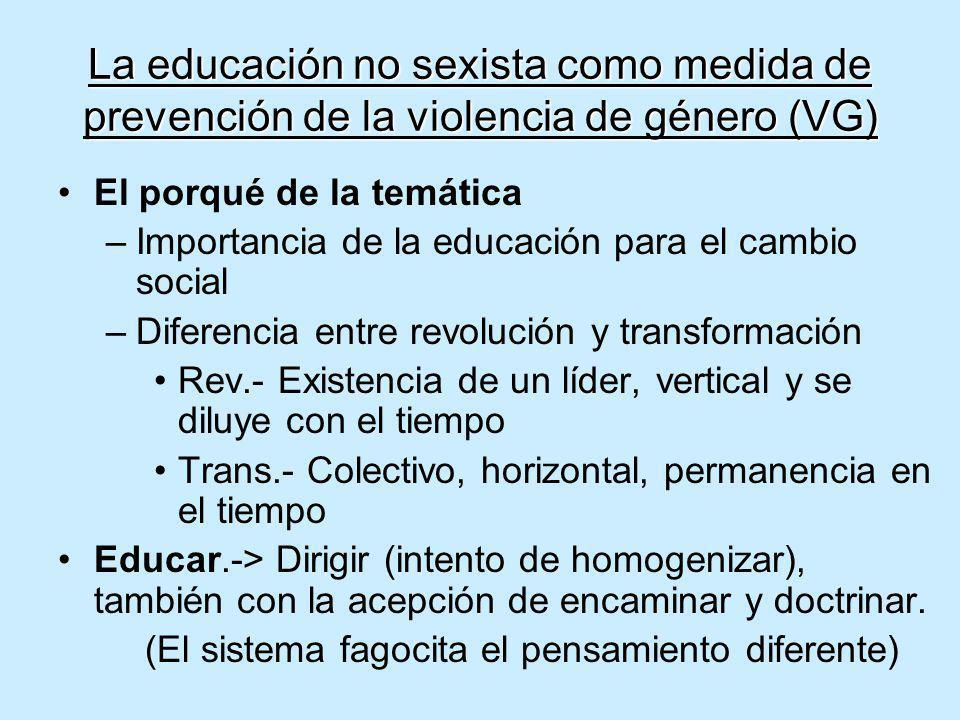 La educación no sexista como medida de prevención de la violencia de género (VG) El porqué de la temática –Importancia de la educación para el cambio
