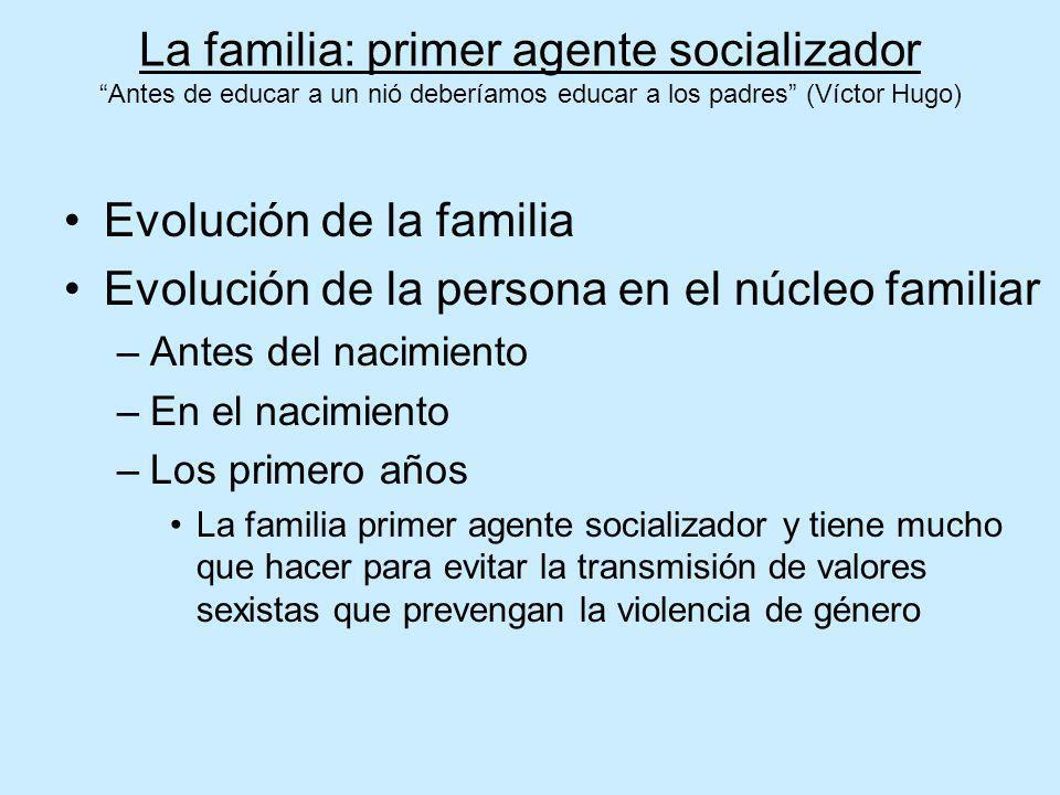 La familia: primer agente socializador Antes de educar a un nió deberíamos educar a los padres (Víctor Hugo) Evolución de la familia Evolución de la p