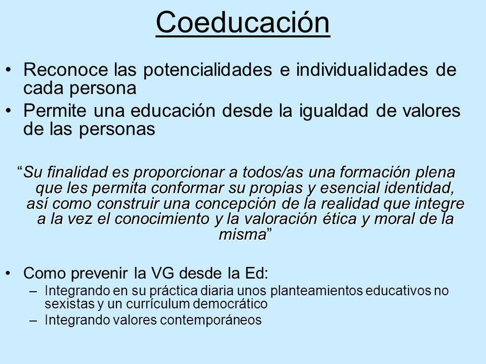 Coeducación Reconoce las potencialidades e individualidades de cada persona Permite una educación desde la igualdad de valores de las personas Su fina