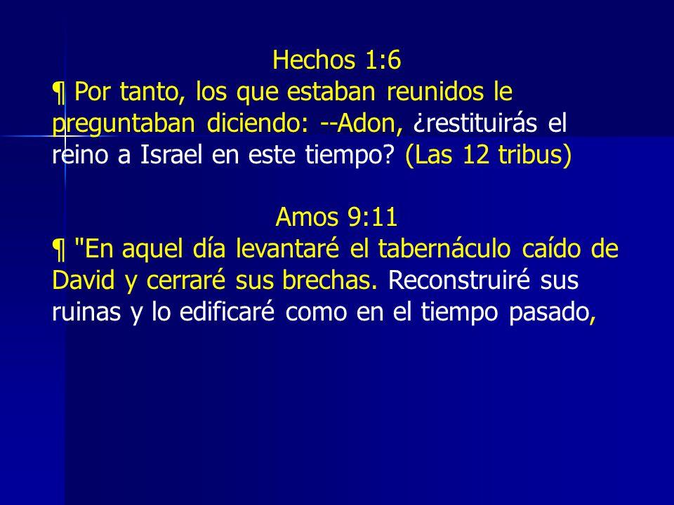 Hechos 1:6 ¶ Por tanto, los que estaban reunidos le preguntaban diciendo: --Adon, ¿restituirás el reino a Israel en este tiempo.