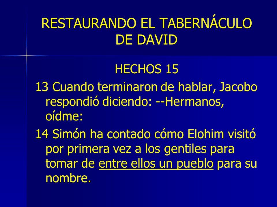 RESTAURANDO EL TABERNÁCULO DE DAVID HECHOS 15 13 Cuando terminaron de hablar, Jacobo respondió diciendo: --Hermanos, oídme: 14 Simón ha contado cómo Elohim visitó por primera vez a los gentiles para tomar de entre ellos un pueblo para su nombre.