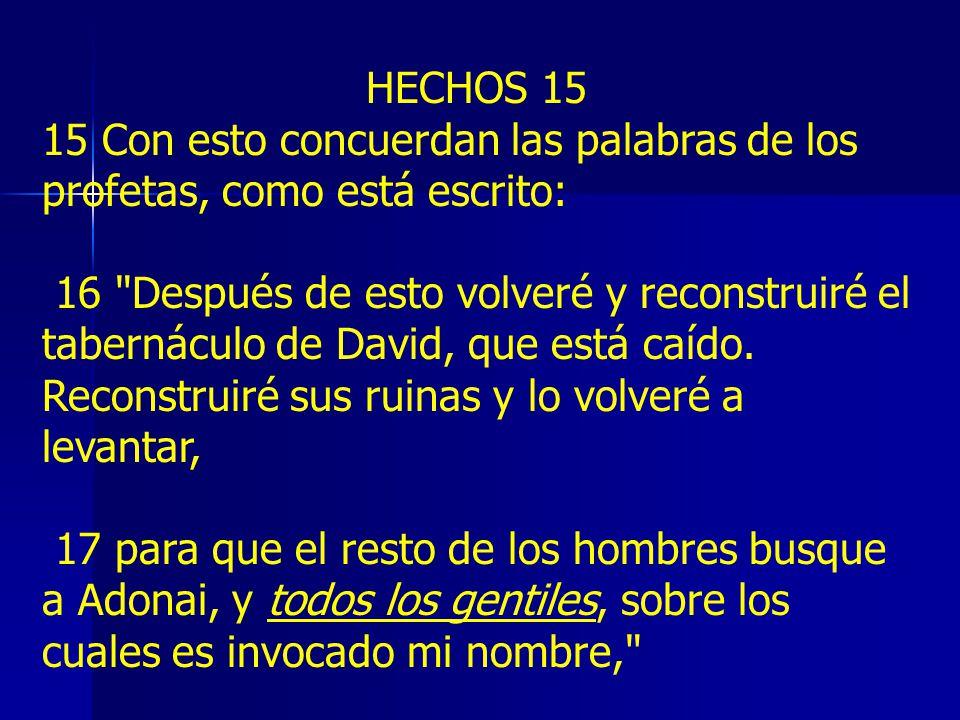 HECHOS 15 15 Con esto concuerdan las palabras de los profetas, como está escrito: 16 Después de esto volveré y reconstruiré el tabernáculo de David, que está caído.