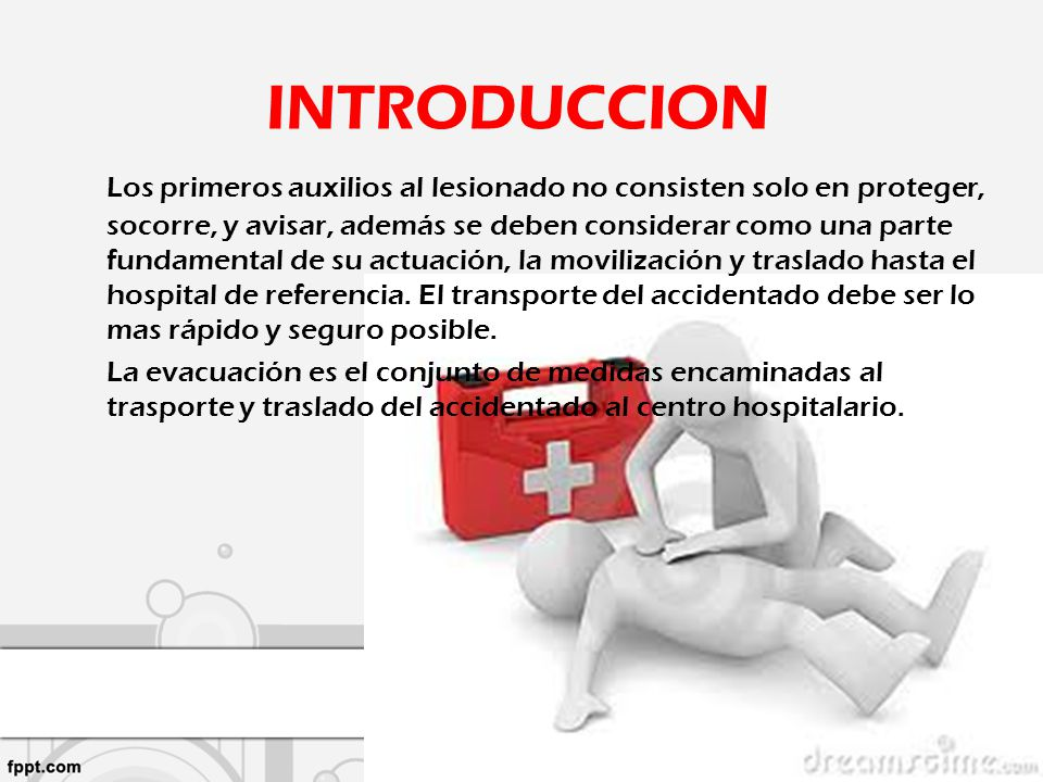 Los primeros auxilios al lesionado no consisten solo en proteger, socorre, y avisar, además se deben considerar como una parte fundamental de su actua