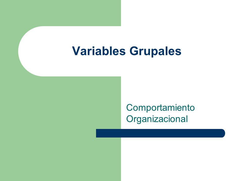 Variables Grupales Comportamiento Organizacional