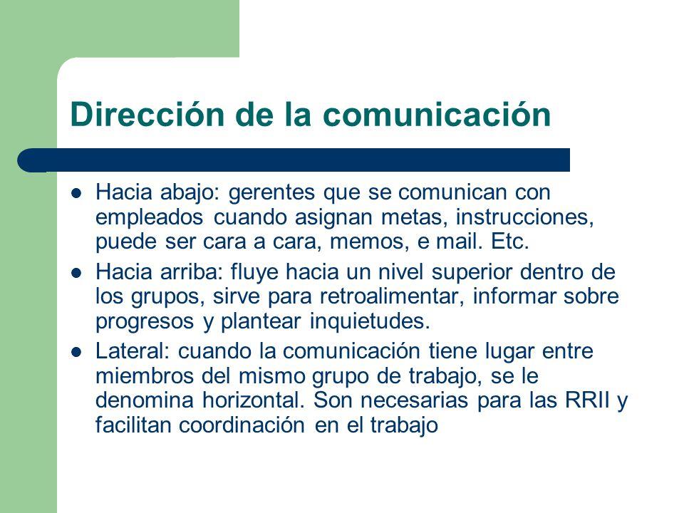 Dirección de la comunicación Hacia abajo: gerentes que se comunican con empleados cuando asignan metas, instrucciones, puede ser cara a cara, memos, e