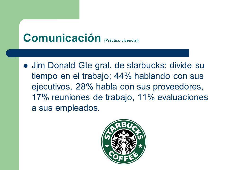 Comunicación (Práctico vivencial) Jim Donald Gte gral. de starbucks: divide su tiempo en el trabajo; 44% hablando con sus ejecutivos, 28% habla con su