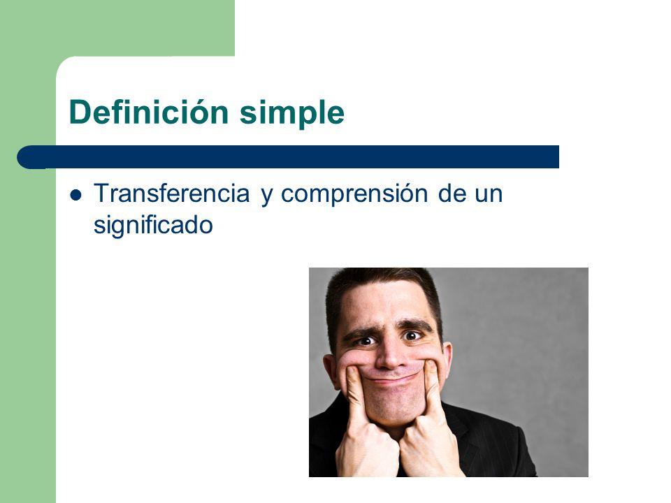 Definición simple Transferencia y comprensión de un significado
