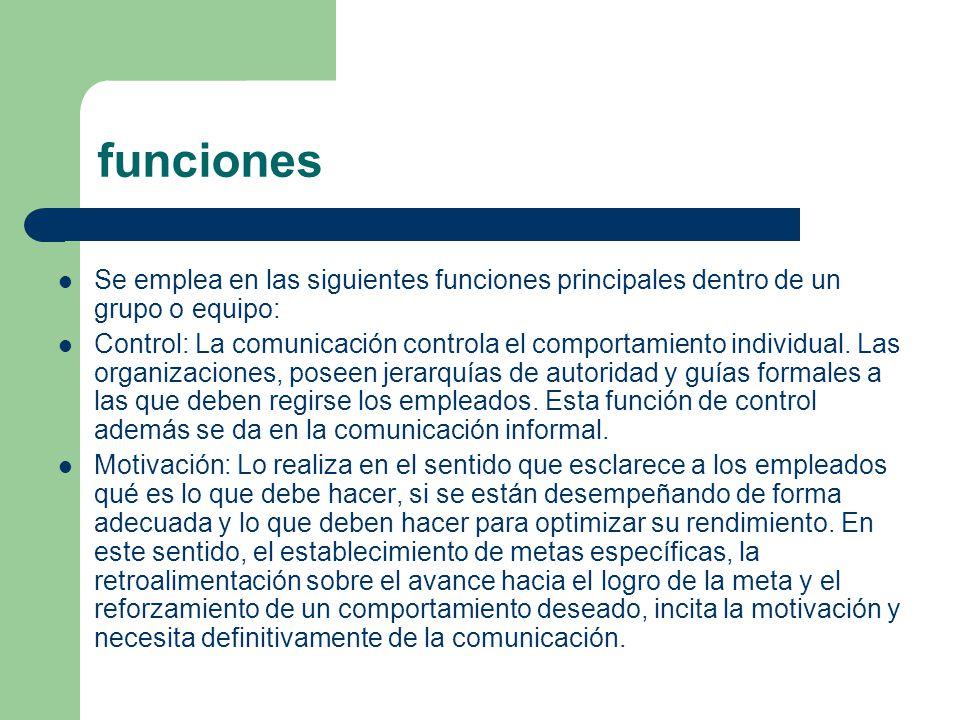 funciones Se emplea en las siguientes funciones principales dentro de un grupo o equipo: Control: La comunicación controla el comportamiento individua
