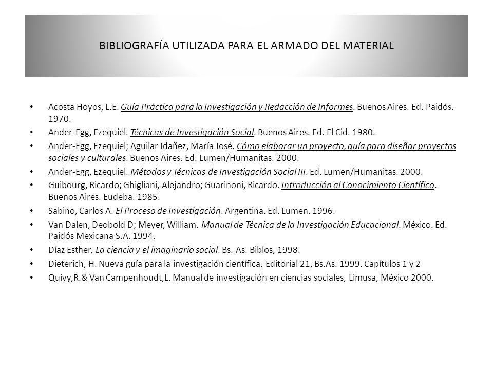 BIBLIOGRAFÍA UTILIZADA PARA EL ARMADO DEL MATERIAL Acosta Hoyos, L.E. Guía Práctica para la Investigación y Redacción de Informes. Buenos Aires. Ed. P