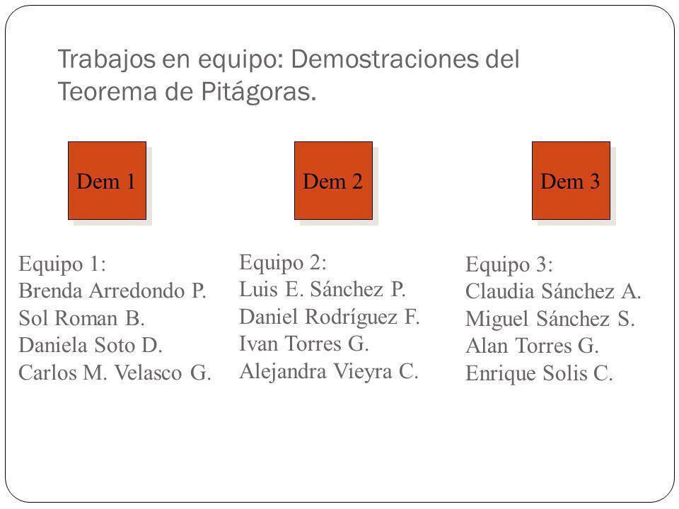 Trabajos en equipo: Demostraciones del Teorema de Pitágoras. Dem 1 Dem 2 Dem 3 Equipo 1: Brenda Arredondo P. Sol Roman B. Daniela Soto D. Carlos M. Ve