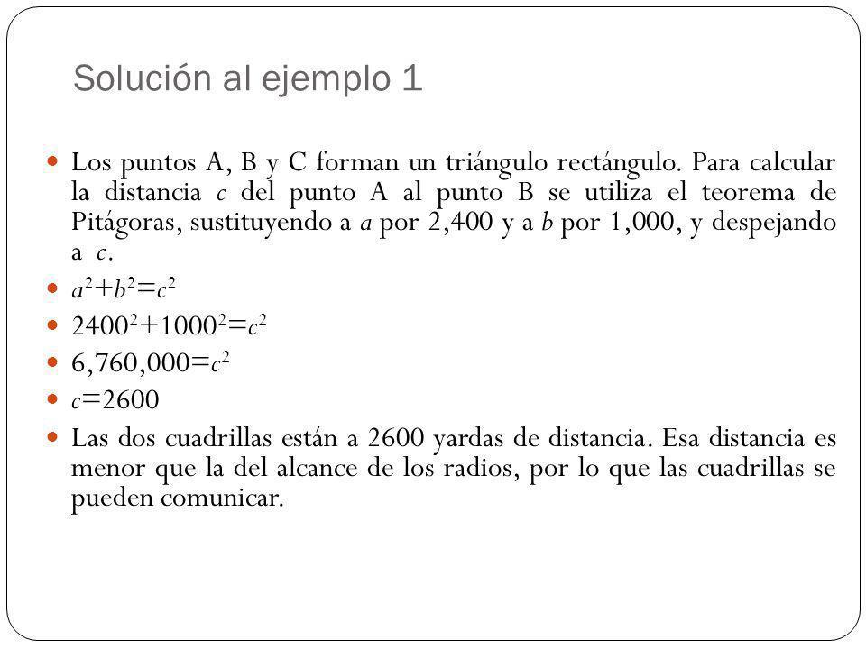 Solución al ejemplo 1 Los puntos A, B y C forman un triángulo rectángulo. Para calcular la distancia c del punto A al punto B se utiliza el teorema de