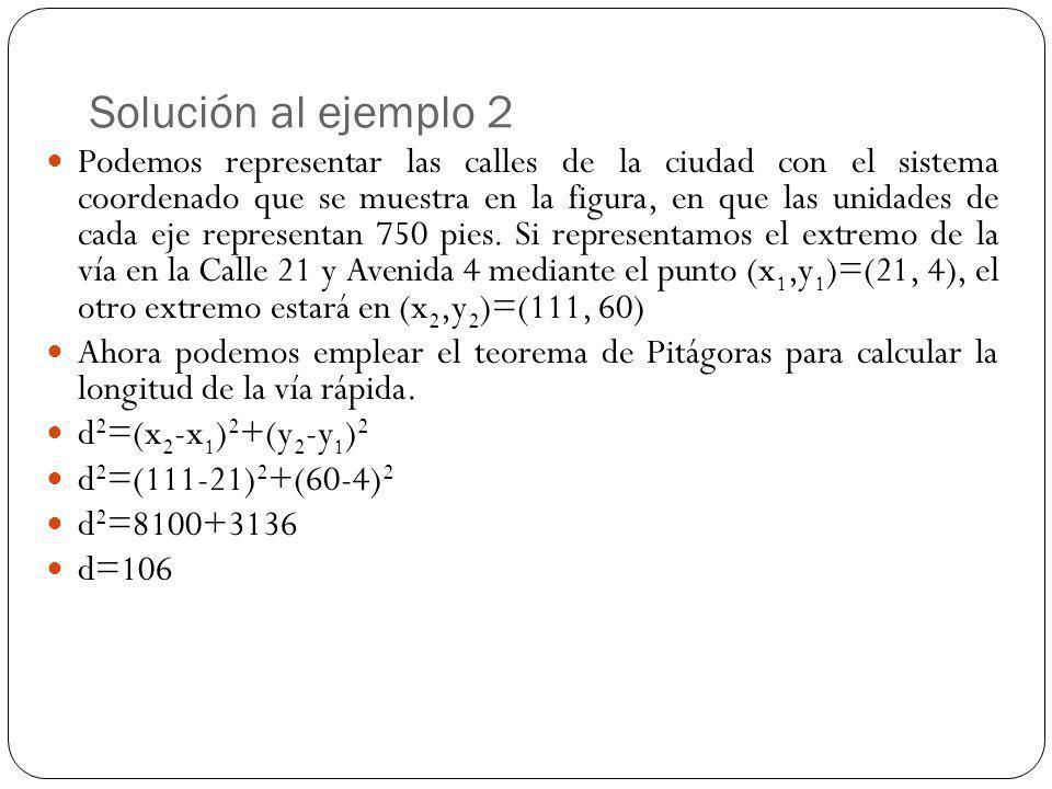 Solución al ejemplo 2 Podemos representar las calles de la ciudad con el sistema coordenado que se muestra en la figura, en que las unidades de cada e
