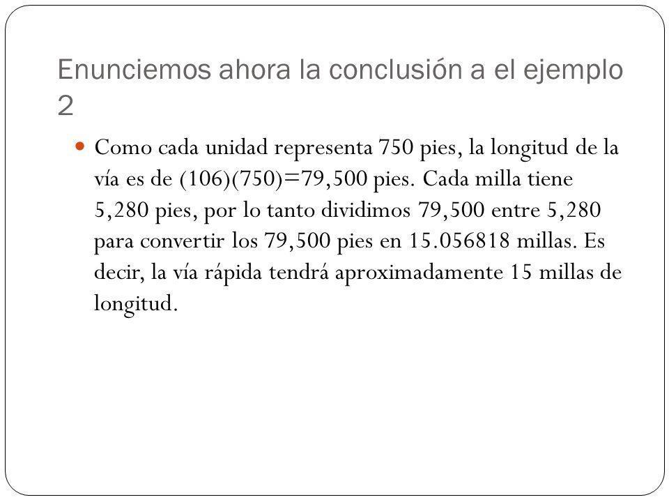 Enunciemos ahora la conclusión a el ejemplo 2 Como cada unidad representa 750 pies, la longitud de la vía es de (106)(750)=79,500 pies. Cada milla tie