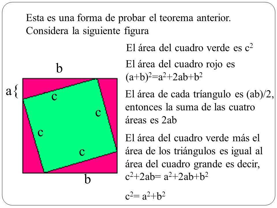 Esta es una forma de probar el teorema anterior. Considera la siguiente figura a{a{ b El área del cuadro verde es c 2 El área del cuadro rojo es (a+b)