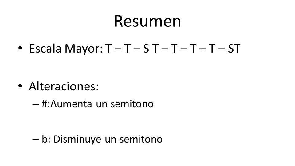 Resumen Escala Mayor: T – T – S T – T – T – T – ST Alteraciones: – #:Aumenta un semitono – b: Disminuye un semitono