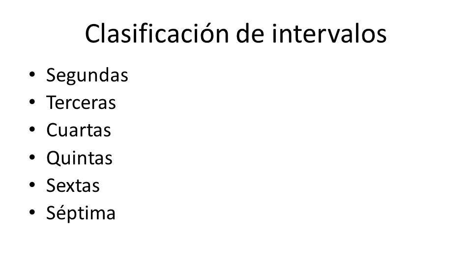 Clasificación de intervalos Segundas Terceras Cuartas Quintas Sextas Séptima