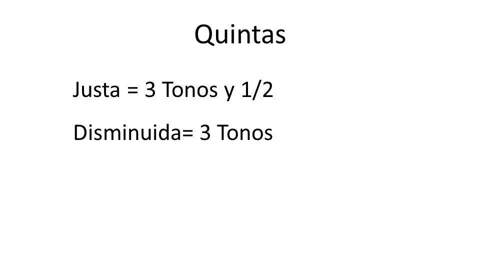 Quintas Justa = 3 Tonos y 1/2 Disminuida= 3 Tonos