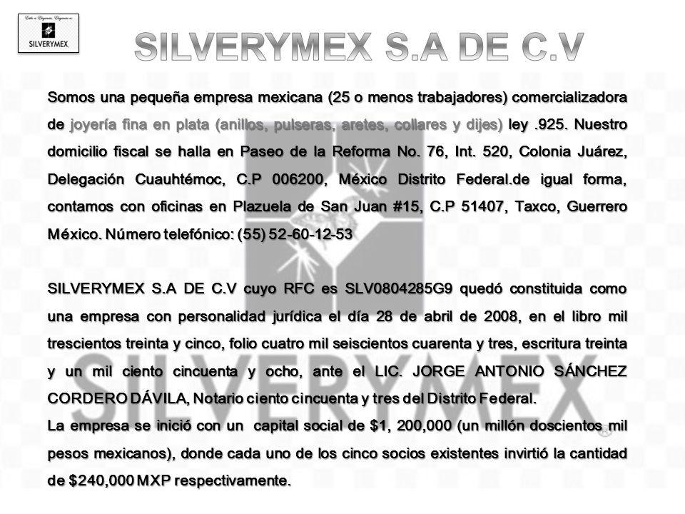 Somos una pequeña empresa mexicana (25 o menos trabajadores) comercializadora de joyería fina en plata (anillos, pulseras, aretes, collares y dijes) ley.925.