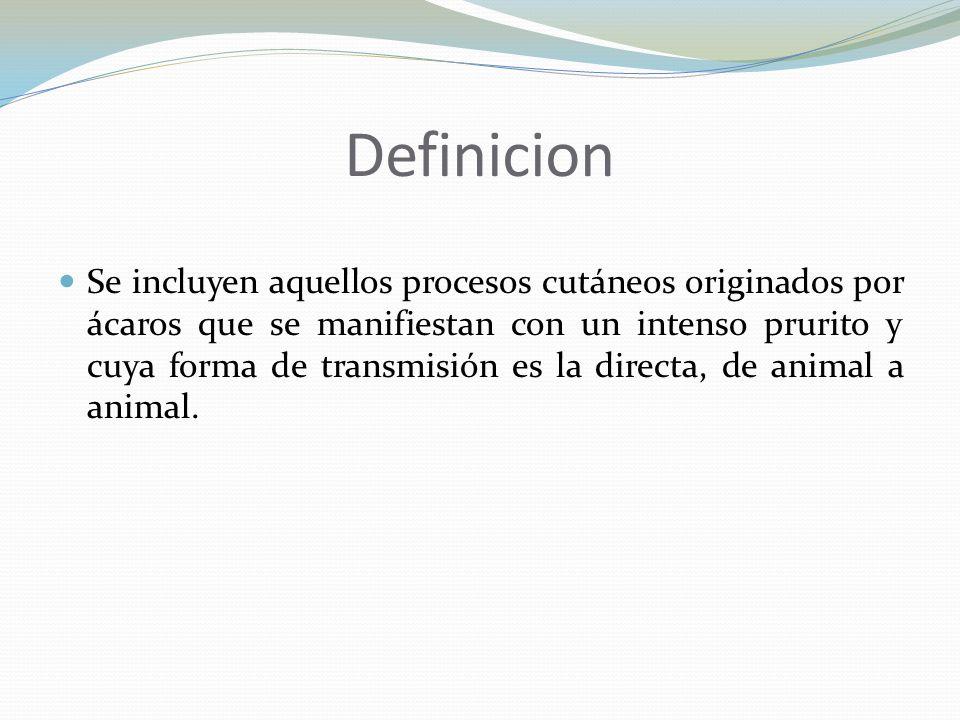 Definicion Se incluyen aquellos procesos cutáneos originados por ácaros que se manifiestan con un intenso prurito y cuya forma de transmisión es la di