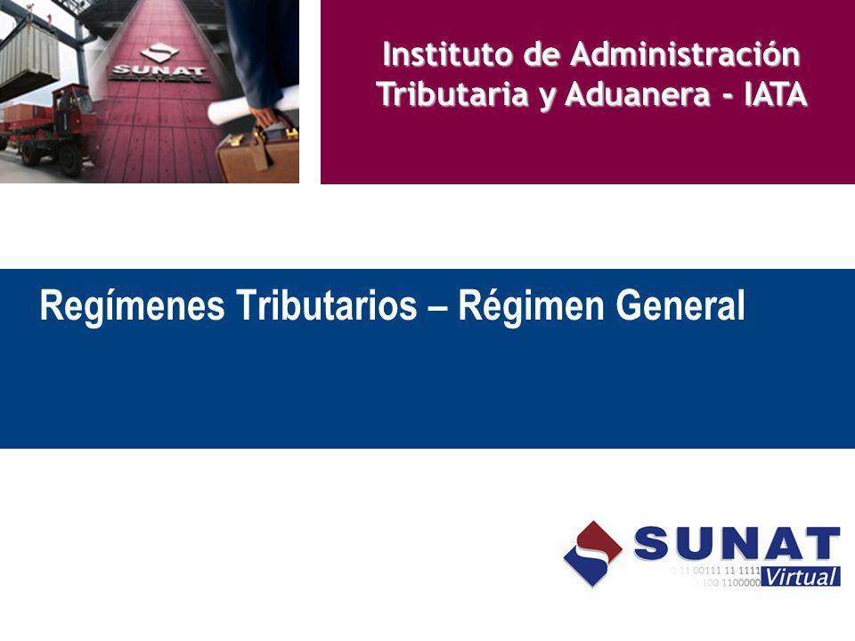 Regímenes Tributarios – Régimen General Instituto de Administración Tributaria y Aduanera - IATA