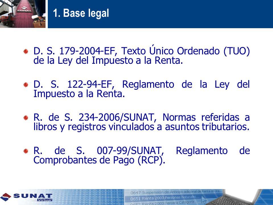 1.Base legal D. S. 179-2004-EF, Texto Único Ordenado (TUO) de la Ley del Impuesto a la Renta.