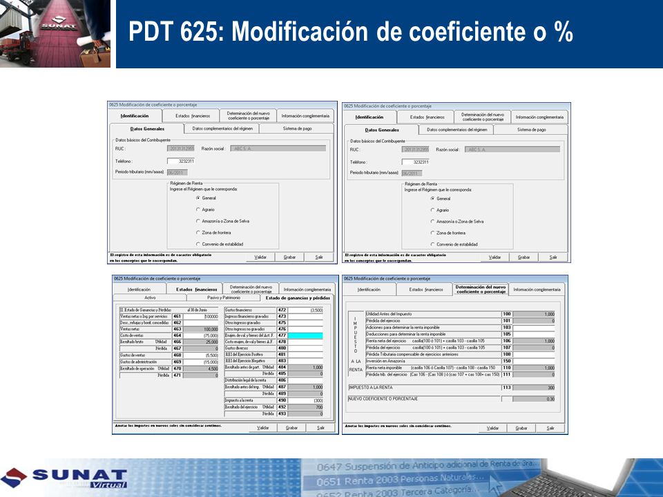 PDT 625: Modificación de coeficiente o %