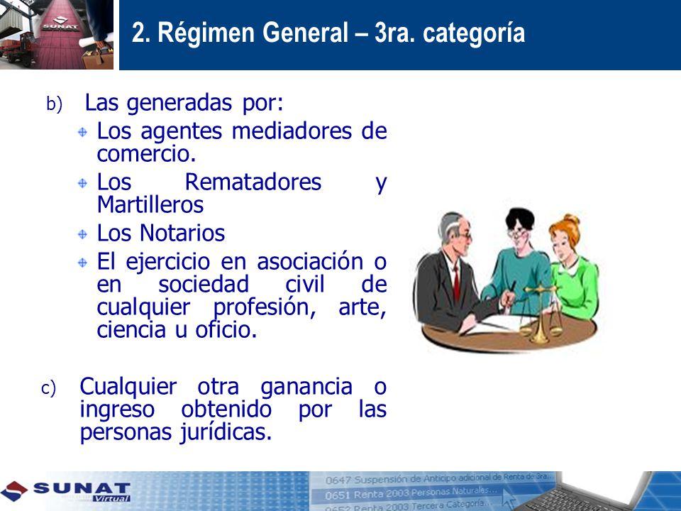 2.Régimen General – 3ra. categoría b) Las generadas por: Los agentes mediadores de comercio.