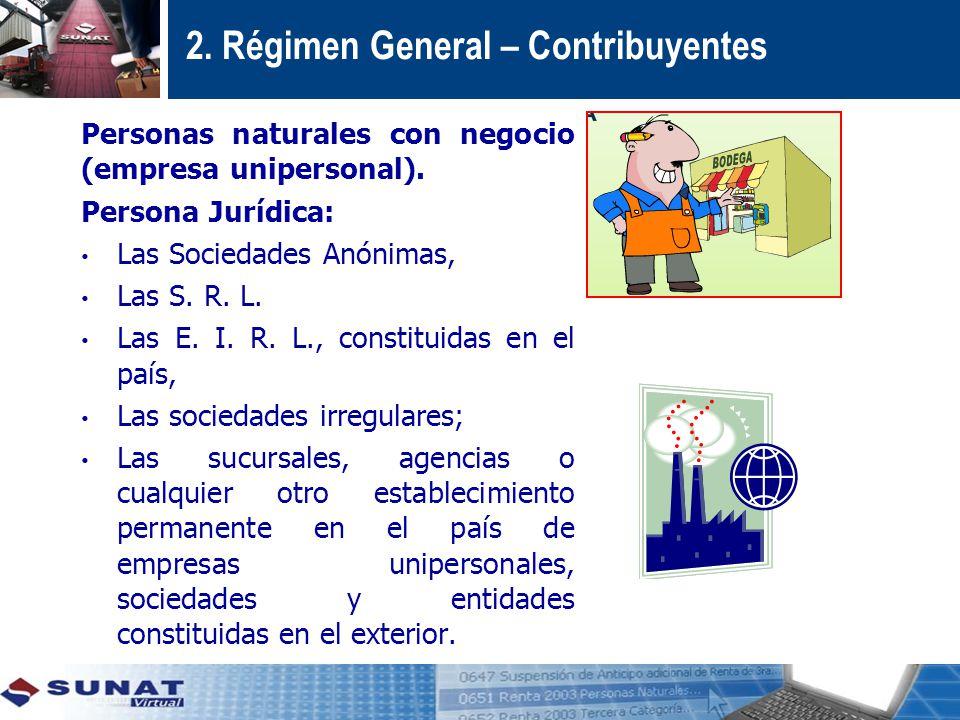 2.Régimen General – Contribuyentes Personas naturales con negocio (empresa unipersonal).