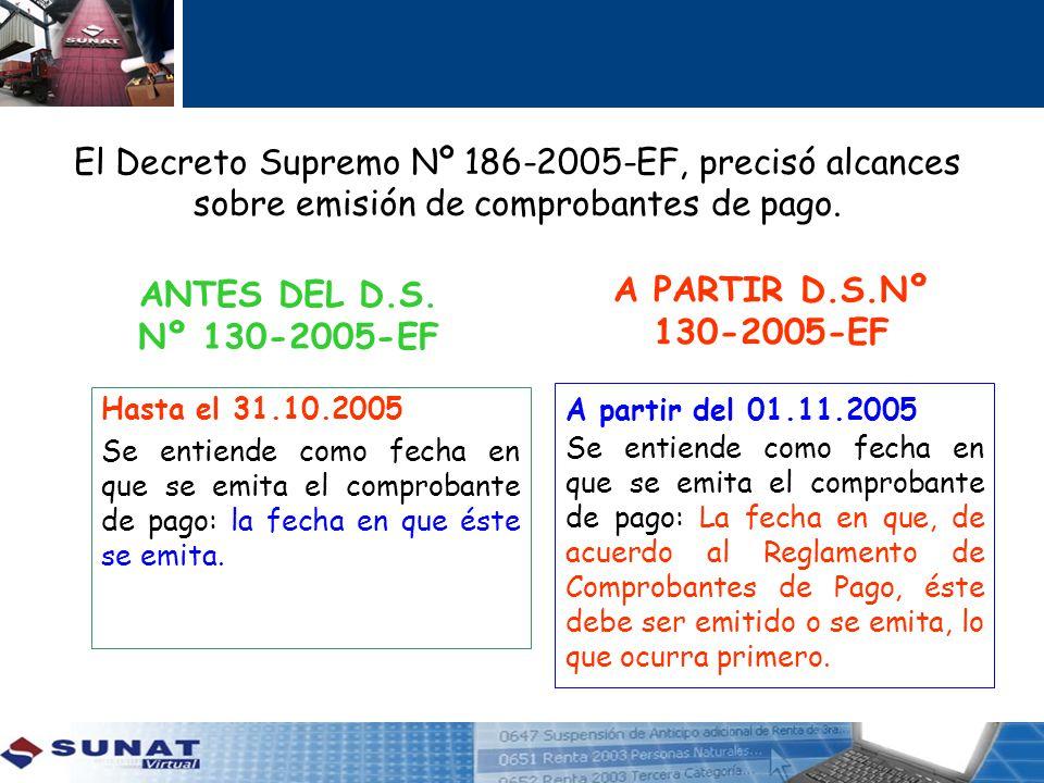 El Decreto Supremo Nº 186-2005-EF, precisó alcances sobre emisión de comprobantes de pago. ANTES DEL D.S. Nº 130-2005-EF A PARTIR D.S.Nº 130-2005-EF H