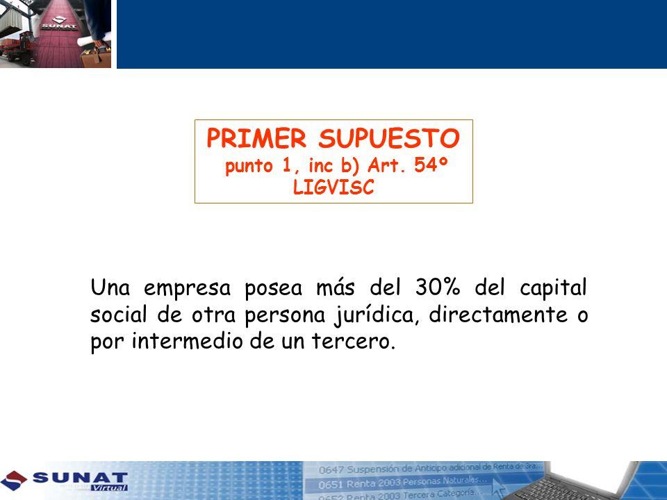PRIMER SUPUESTO punto 1, inc b) Art. 54º LIGVISC Una empresa posea más del 30% del capital social de otra persona jurídica, directamente o por interme