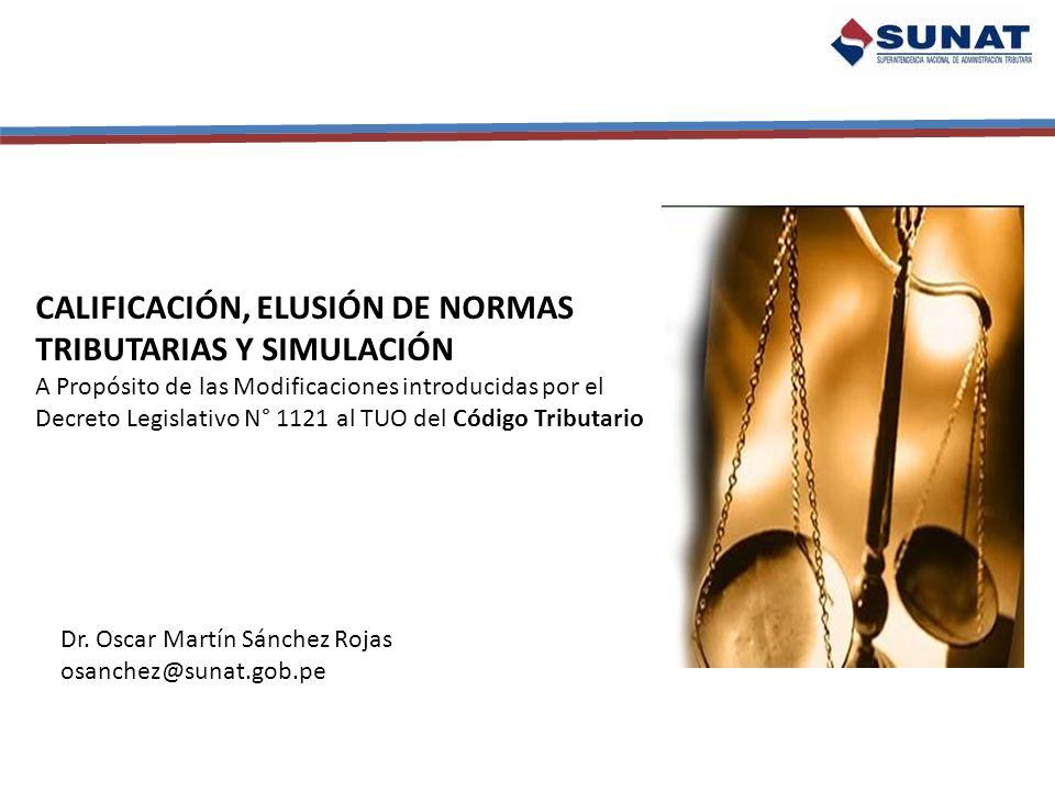 Calificación, Elusión de Normas Tributarias y Simulación RTF 06686 del 8 de septiembre del 2004 (El Caso de la Eléctrica) (Abuso de la Figura de la Reorganización empresarial SUNAT aplica Norma VIII) Norma Eludida LIR Efecto: menor depreciación (X1) Norma de Cobertura LGS Escisión Societaria Norma Defraudada Ley Excepcional de Beneficios Tributarios Efecto: Mayor depreciación (X 2) EMPRESA ESCINDIDA (Fiscalizada) Deprecia doble EMPRESA ESCINDENTE (seguía administrando los bienes) TRANSFERENCIA DE ACTIVOS REVALUADOS COMO COSTO COMPUTABLE Tribunal Fiscal adujo que esto es Fraude a la Ley ( Perdió SUNAT Pues el Fraude a la Ley había sido derogado) ¿Traición a la ratio legis.