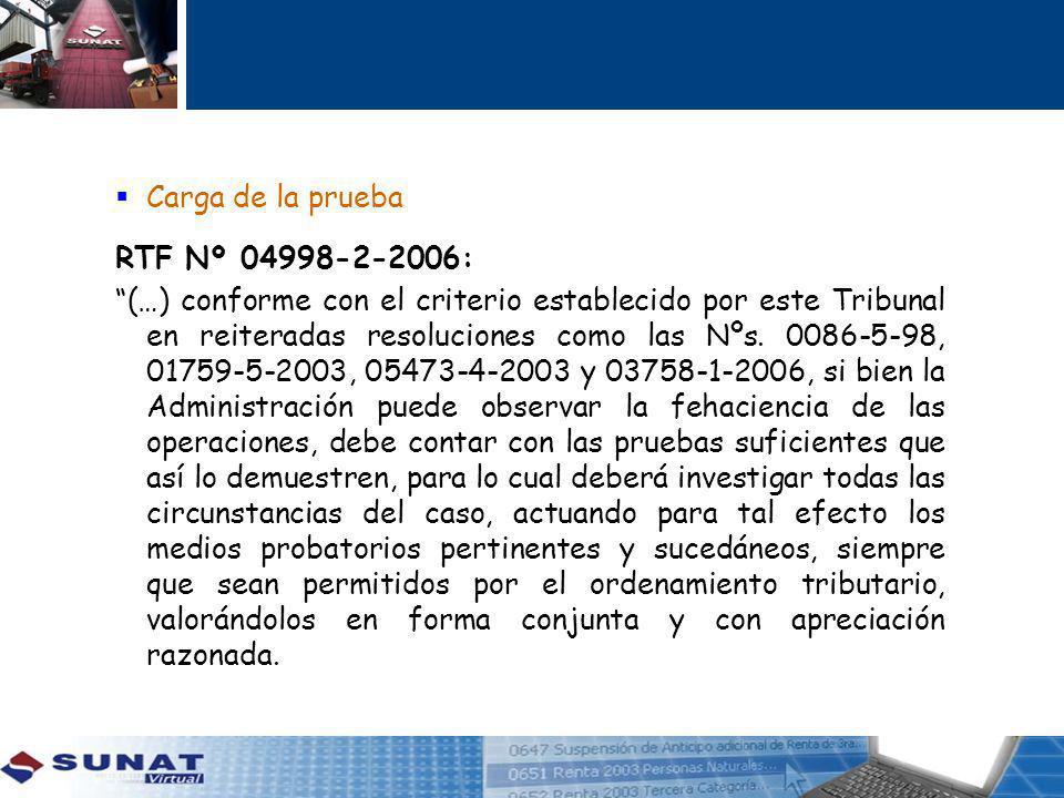 Carga de la prueba RTF Nº 04998-2-2006: (…) conforme con el criterio establecido por este Tribunal en reiteradas resoluciones como las Nºs.