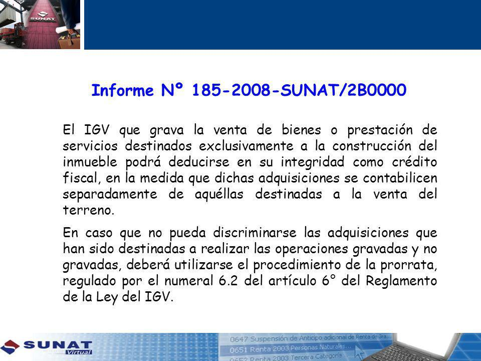 El IGV que grava la venta de bienes o prestación de servicios destinados exclusivamente a la construcción del inmueble podrá deducirse en su integridad como crédito fiscal, en la medida que dichas adquisiciones se contabilicen separadamente de aquéllas destinadas a la venta del terreno.