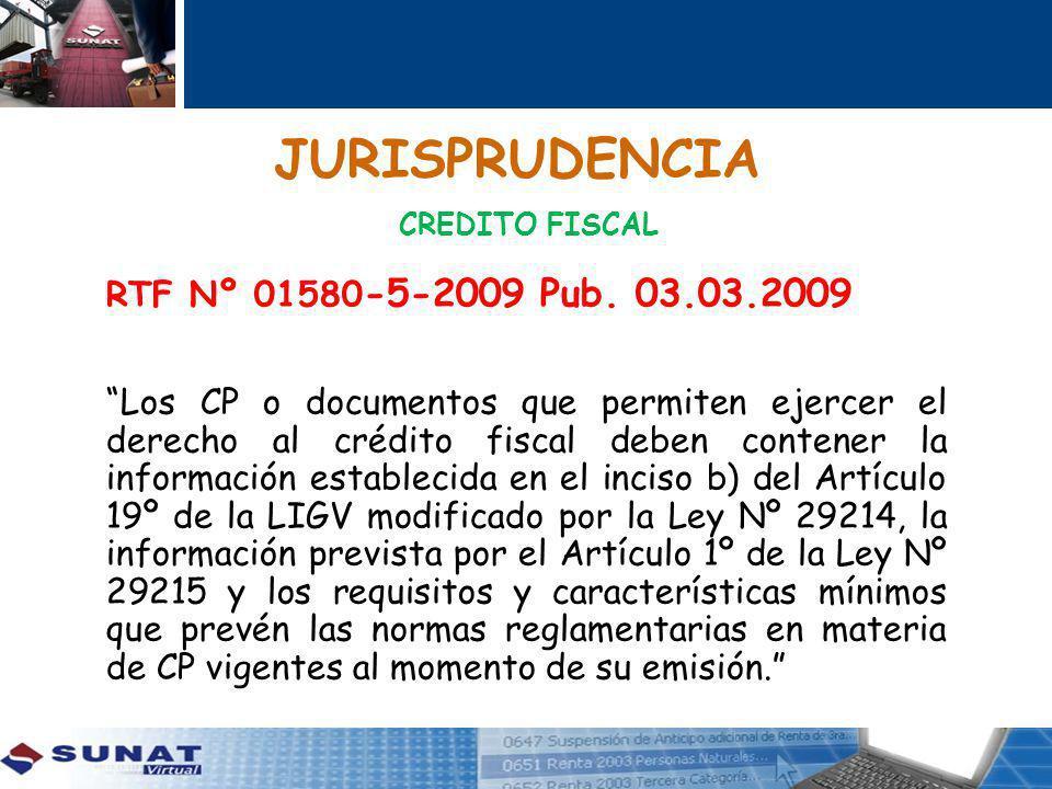 JURISPRUDENCIA CREDITO FISCAL RTF Nº 01580 -5-2009 Pub.