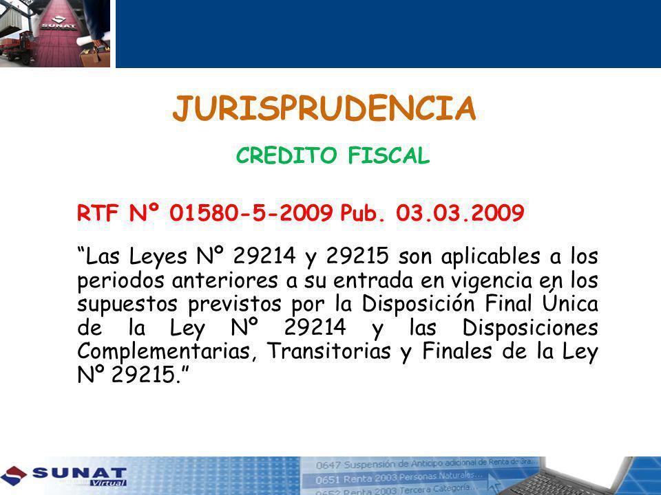 JURISPRUDENCIA CREDITO FISCAL RTF Nº 01580-5-2009 Pub.