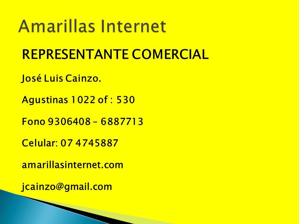 REPRESENTANTE COMERCIAL José Luis Cainzo. Agustinas 1022 of : 530 Fono 9306408 – 6887713 Celular: 07 4745887 amarillasinternet.com jcainzo@gmail.com